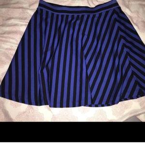Horizontal black and blue striped mini skirt